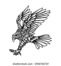 tattoo and t-shirt design black and white hand drawn robot eagle