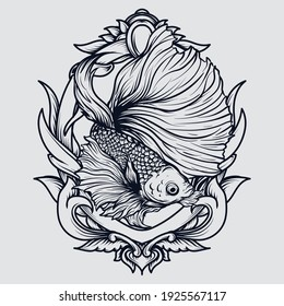 tattoo and t-shirt design black and white hand drawn betta fish engraving ornament