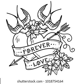 Tattoo two hearts pierced by arrow. Hearts with flowers , ribbon and swallows. Forever love. Illustration for Valentines Day. Old School design. Black and white tattoo. Coloring page