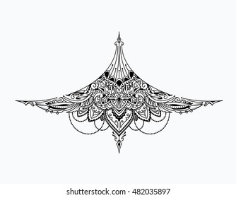 Tatouage sous la poitrine d'une fille vintage création illustration vectorielle