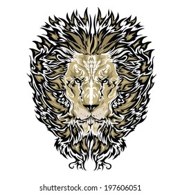 Tattoo vector sketch of a lion's face