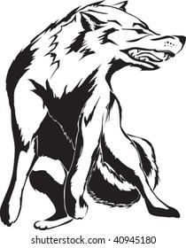 Tattoo wolf illustration