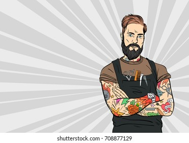 Tattooed hipster barber man. Fashion illustration. Pop art hand drawn vector.