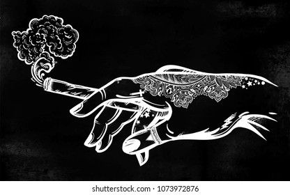Tattooed human hand holding a weed joint or spliff or tabacco cigarette. Drug consumption, marijuana use clip art. Concept design. Elegant tattoo artwork. Isolated vector illustration.