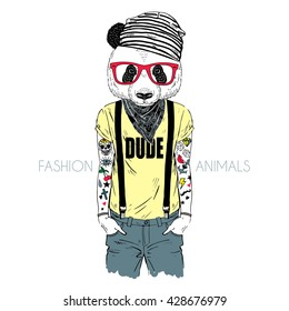tattooed panda hipster boy dressed up in cool t-shirt, furry art illustration, fashion animals, hipster animals