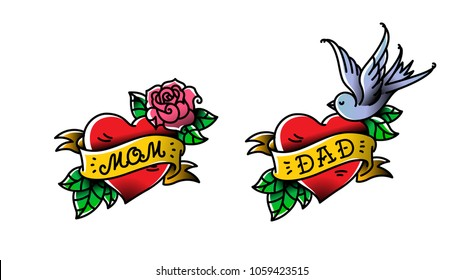 Tattoos with the inscription of Mom and Dad. Two hearts with a flower and a bird. Vector flat tattoo. Congratulation for parents with an anniversary. A tattoo for loving parents. Old style.