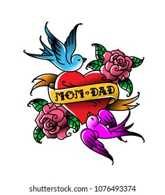 Tattoos with the inscription of Mom and Dad. Two hearts with a flower and a bird. Vector flat tattoo. Congratulation for parents with an anniversary. A tattoo for loving parents.