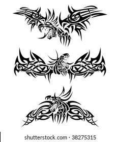 Tattoos with mythic dragons isolated on white
