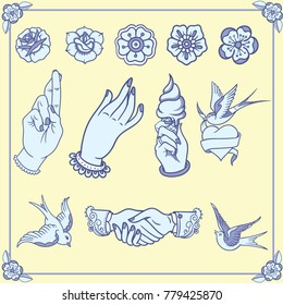 Tattoos in old school style. Vector editable elements. Vintage tattoo different flowers and roses in classic style. ice cream cone with hand, swallows and handshake