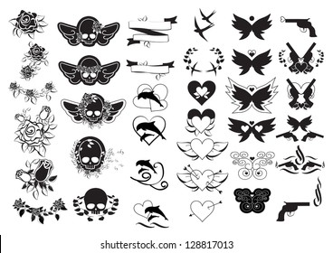 Tattoos - Set - Isolated On White Background - Vector Illustration, Graphic Design Useful For Your Design. Logo Tattoo