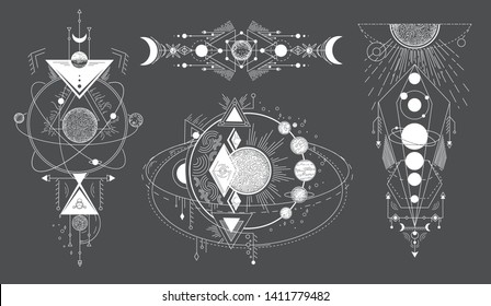 Tattoos of space subjects with star systems. Vector set of geometric abstract magical tattoo on black background. Illuminati or masonic tatoo, esoteric paranormal occult vector illustration.