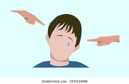 Taunts the child. vector. baby crying and other children bullying and pointing fingers.