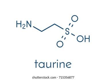 Taurine (2-aminoethanesulfonic acid) molecule. Common ingredient of energy drinks and nutritional supplements. Skeletal formula.