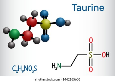 Taurine or 2-aminoethanesulfonic acid molecule. It is sulfonic acid, is widely distributed in animal tissues. Structural chemical formula and molecule model. Vector illustration