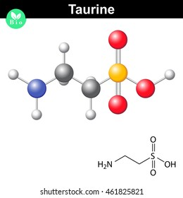 Taurine chemical formula and model, 2d and 3d illustration, vector on white background, eps 8