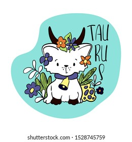 Taurus Astrological Zodiac sign with cute cat character. Cat zodiac icon. Kitten Taurus sticker. Baby shower or birthday greeting card. Astrological horoscope element. Taurus icon or logo isolated