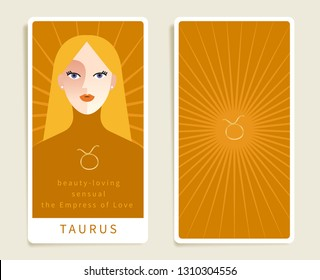 Taurus : Beautiful woman with horoscope sign : Template for tarot cards :Vector Illustration