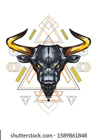 Taurus Bull Buffalo in Mystical Sacred Geometry magic astrology and alchemy