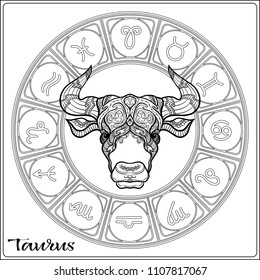 Taurus, bull, ox Zodiac sign. Astrological horoscope collection. Outline vector illustration. Outline hand drawing coloring page for the adult coloring book.