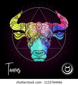 Taurus, bull, ox Zodiac sign. Astrological horoscope collection. Multicolor on black dackground. Vector illustration