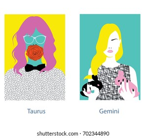 Taurus and gemini girl horoscope signs. Vector illustration.