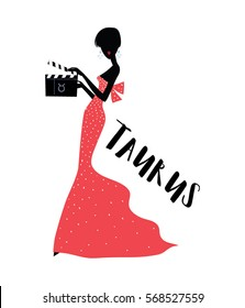 Taurus horoscope woman as an actress wearing long dress and holding a film clapper board. Vector illustration.
