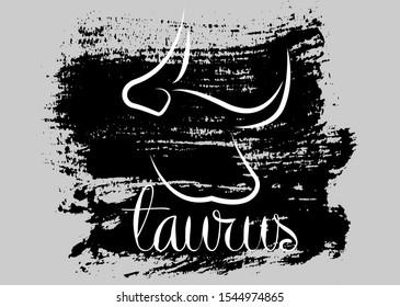taurus icon of zodiac, Vector icon. astrological signs, grunge image of horoscope. brush stroke style, isolated on grey background
