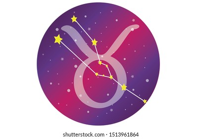 Taurus signs, zodiac background, beautiful and simple vector images in the midst of a starry galaxy with a Taurus constellation on the front of the sphere with the symbol of the Taurus constellation.