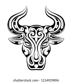 Taurus tattoo with ethnic motifs. Ox head as a zodiac symbol