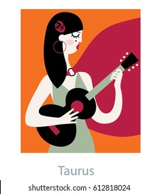 Taurus Woman horoscope sign as a Spanish woman playing ukulele guitar and wearing red rose in her hair. Flamenco vector illustration