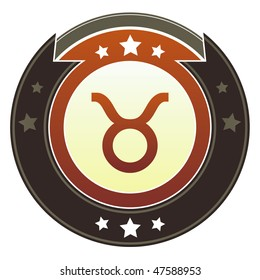 Taurus zodiac astrology icon on round red and brown imperial vector button with star accents suitable for use on website, in print and promotional materials, and for advertising.