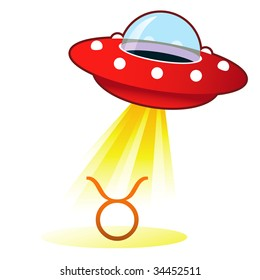 Taurus zodiac astrology sign icon on retro flying saucer UFO with light beam.