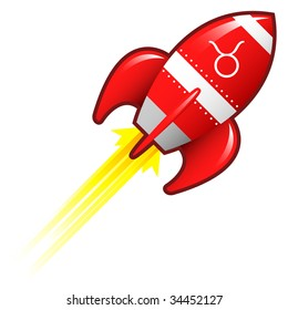 Taurus zodiac astrology sign on on red retro rocket ship illustration