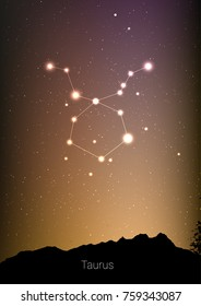 Taurus zodiac constellations sign with forest landscape silhouette on beautiful starry sky with galaxy and space behind. Taurus horoscope symbol constellation on deep cosmos background. Card design