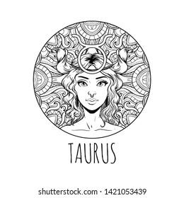 Taurus zodiac sign artwork, adult coloring book page, beautiful horoscope symbol girl, vector illustration