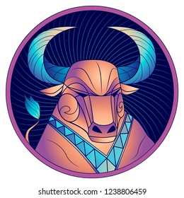 Taurus zodiac sign, astrological horoscope symbol. Futuristic style icon. Stylized graphic portrait of the stately ox. Proud bull with blue big twisted horns. Powerful mule looking to the side. Vector