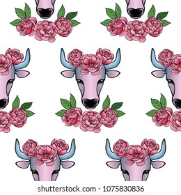 Taurus Zodiac Sign With Pink Flowers Seamless Pattern Ox Vector Romantic Wallpaper For Textile Prints