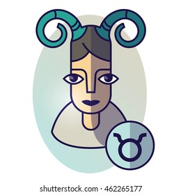 Taurus zodiac sign. Vector illustration of horoscope. Girl portrait in a Taurus character
