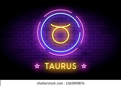 The Taurus zodiac symbol, horoscope sign in trendy neon style on a wall. The Taurus astrology sign with light effects for web or print.
