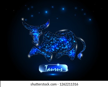 Taurus.Zodiac symbol on a background of the starry sky. Signs of the zodiac, astrology.