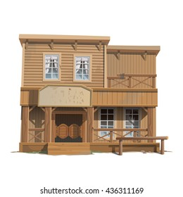 Tavern of the wild West isolated on white background. Vector cartoon close-up illustration.