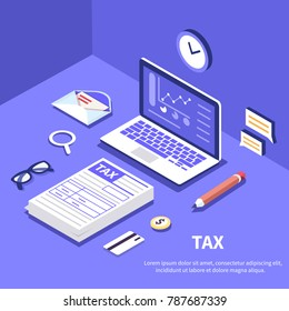 Tax and accountant concept. Can use for web banner, infographics, hero images. Flat isometric vector illustration.