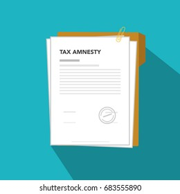 Tax amnesty illustration, government forgive taxation, illustration vector paper with clip, Tax Amnesty
