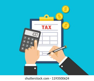 Tax auditors are filling out and calculating a tax form for financial businesses
