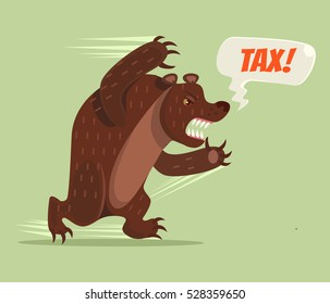 Tax bear character run. Vector flat cartoon illustration