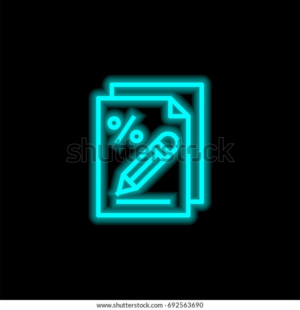 Tax blue glowing neon ui ux icon. Glowing sign logo vector