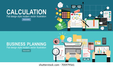 Tax calculation, budget calculation, accounting, paperwork concept. Top view.Flat design illustration concepts for business analysis and planning, financial strategy, consulting