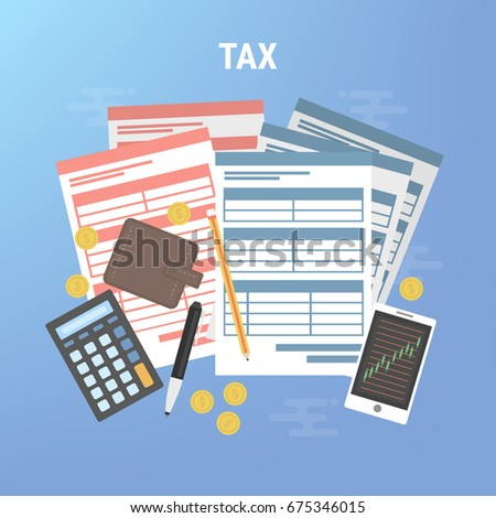 tax calculation budget calculation accounting paperwork stock vector