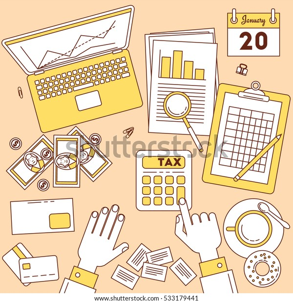Tax calculator. Top view vector illustration, online and paper financial work.