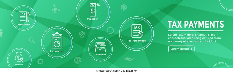 Tax concept with percentage paid, icon and income idea. Flat vector outline illustration Web Header Banner